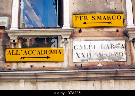 Street signs in Venice, Italy - Stock Photo