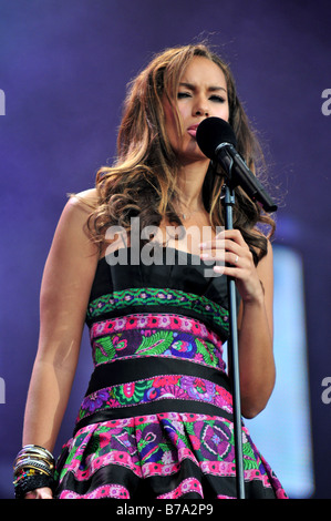 Leona Lewis performs on stage at a concert in London - Stock Photo