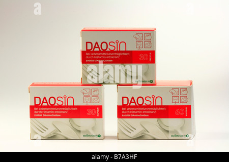 Daosin, dietary supplement, medicinal product for use with histamine intolerance, contains the active substance - Stock Photo