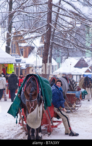 Horse drawn sleigh waiting for customers on Krupowki Street Zakopane Tatra Mountains Podhale Region Poland - Stock Photo