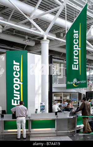 Rental desk for Europcar car rental at the Munich Airport, Bavaria, Germany, Europe - Stock Photo