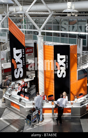 Car Rental Desk of the Sixt AG company in the Munich Airport, Bavaria, Germany, Europr - Stock Photo