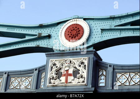 A steel girder of the Tower Bridge in London, England, Great Britain, Europe - Stock Photo