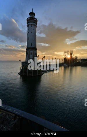 The new lighthouse built in 1856 in Lindau at Lake Bodensee, Swabia, Bavaria, Germany, Europe - Stock Photo