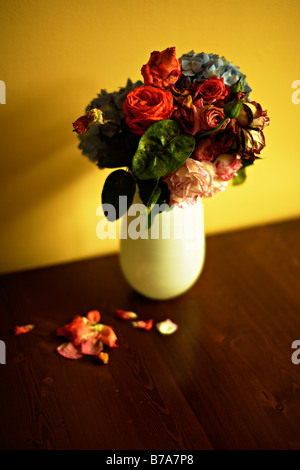 Vase of old dying flowers roses and hydrangea - Stock Photo