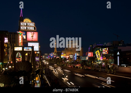 Las Vegas Strip, Las Vegas Boulevard, night shot, Las Vegas, Nevada, USA - Stock Photo
