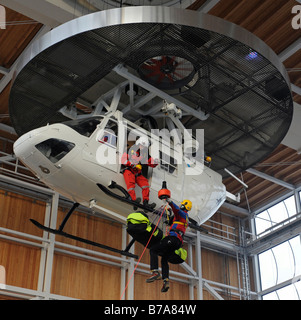 Rescue drill in a helicopter simulator of the mountain rescue service center for safety and training in Bad Toelz, - Stock Photo