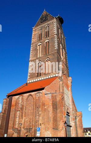 Remaining west tower and side chapels of the historic Church of St. Mary in the historic city centre of Wismar, - Stock Photo
