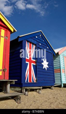 Beach hut with Australian flag, Brighton, Australia - Stock Photo