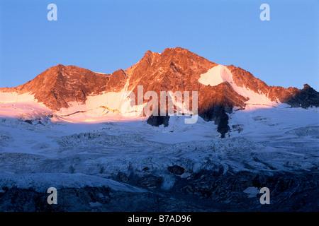 Grosser Moeseler in the sunrise, Zillertal Alps, North Tirol, Austria, Europe - Stock Photo
