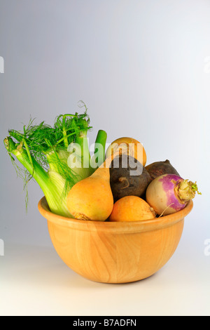 Vegetables in a wooden bowl, swedes or yellow turnips, turnips, beetroot and celery - Stock Photo