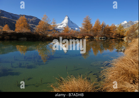 Grindjisee with view to the Matterhorn, Zermatt, Wallis, Switzerland, Europe - Stock Photo