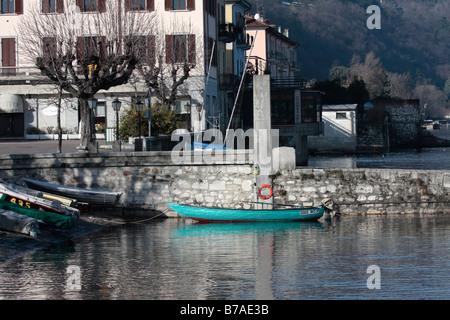 Green fishing boat, Lake Maggiore, Italy - Stock Photo