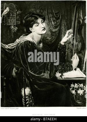 veronica veronese sitting bored desk lady woman bird gage paintings by the British Pre-Raphaelite artist Dante Gabriel - Stock Photo