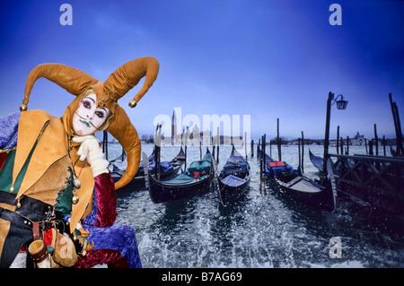Jester Costumed carnival lady at Venice Festival - Stock Photo