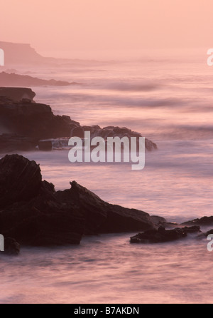Sunset from the undeveloped west coast of Fuerteventura in the canary islands. - Stock Photo