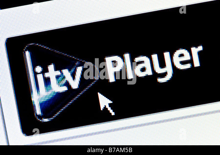 Macro screenshot of ITV player website - the channel's video on demand catch-up service (Editorial use only) - Stock Photo