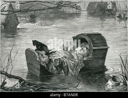 baby flood floating cat cot basket water thatch cottage blanket flash Sir John Everett Millais, 1st Baronet, PRA (8 June 1829 –