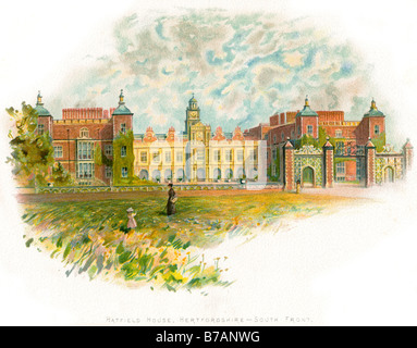 hatfield house herfordshire south garden hall wall gate - Stock Photo