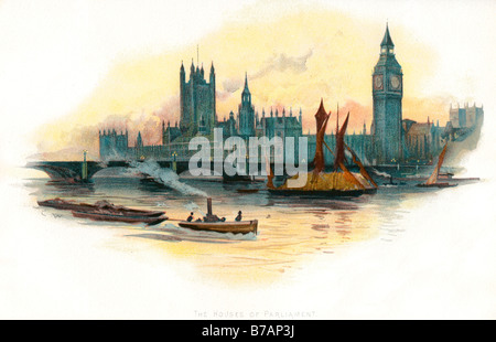 houses parliament london england united kingdon polotics law court - Stock Photo