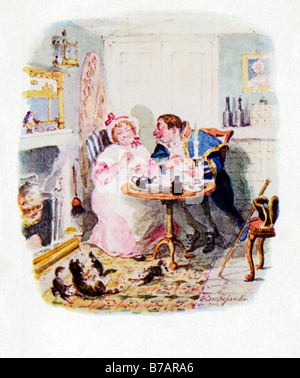 Oliver Twist Mr Bumble And Mrs Corney Taking Tea original illustration by George Cruikshank for the Dickens novel - Stock Photo