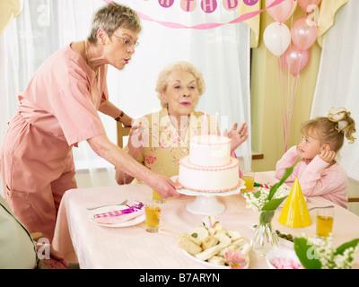 Woman Celebrating Birthday in Seniors' Residence - Stock Photo