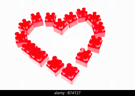 Toy Blocks in shape of Heart - Stock Photo