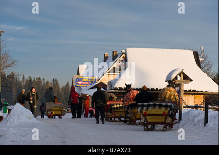 Horse drawn sleigh waiting for customers Gubalowka Hill Zakopane Tatra Mountains Podhale Region Poland - Stock Photo
