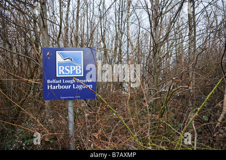 Sign at the RSPB Reserve, Belfast Lagoon at Belfast Lough. - Stock Photo