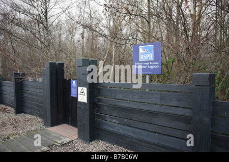 Entrance to bird hide at the RSPB Reserve, Belfast Lagoon at Belfast Lough. - Stock Photo