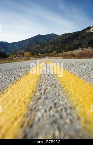 Close-up View of Road near Keremeos, Okanagan, British Columbia, Canada - Stock Photo
