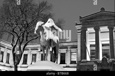 Snow covered sculpture 'Appeal to the Great Spirit' by Cyrus Dallin,  Museum of Fine Arts in Boston, Massachusetts. - Stock Photo