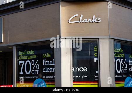 Clarks shoe shop sale High street shops and shopping January 2009 - Stock Photo