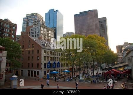 Quincy Market located near Faneuil Hall Marketplace in Boston Massachusetts USA - Stock Photo