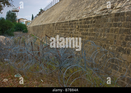 The Green Line and Old City Walls now UN Buffer Zone in Nicosia Separating North and South Cyprus - Stock Photo