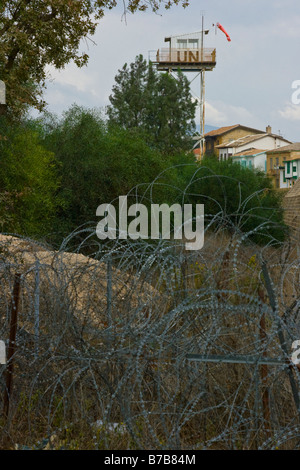 UN Buffer Zone on the Green Line in Nicosia Separating North and South Cyprus - Stock Photo