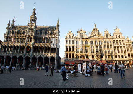 The Grand Place in Brussels Belgium on July 19 2007 - Stock Photo