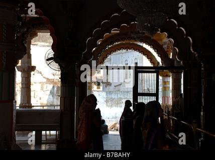 Interior of Swaminarayan Temple, Ahmedabad, India. - Stock Photo