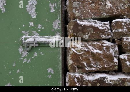 Lock on hut door Pike Rigg Alston - Stock Photo