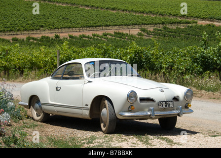 A white vintage Karman Ghia parked outside Coriole Winery in McLaren Vale, one of South Australia's premier wine - Stock Photo