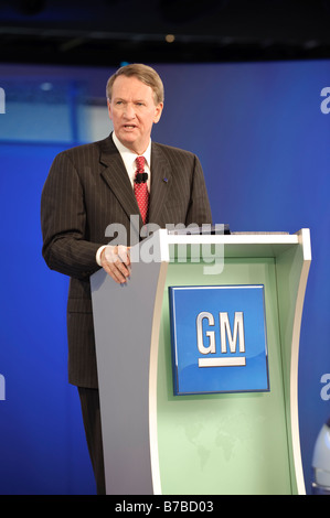 General Motors Chairman and Chief Executive Officer Rick Wagoner at the 2009 North American International Auto Show - Stock Photo