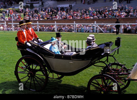 'HM Queen Elizabeth' and 'Prince Philip Duke of Edinburgh' arriving at 'Royal Ascot' races in an open top horse - Stock Photo