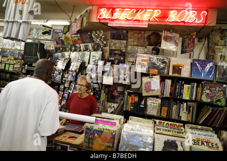 Bleecker Bobs, Record Shop, Greenwich Village, New York City, USA - Stock Photo