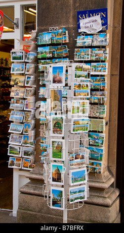 Postcards on display outside a shop in Oxford, England. Jan 2009 - Stock Photo