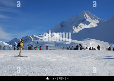 skiing in the Ahorn mountains Mayrhofen Austria - Stock Photo
