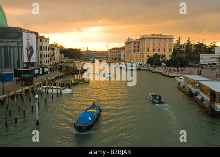 Traffic on Canal Grande at Scalzi bridge in Venice Italy Europe - Stock Photo