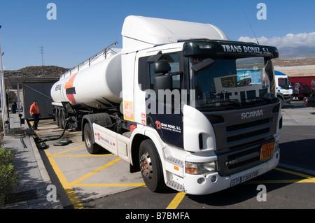 fuel tanker truck lorry filling station refilling petrol station tanks diesel fuel gas petroleum distribution network - Stock Photo