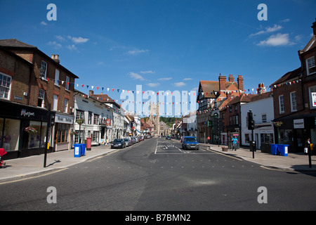 Hart Street in Henley on Thames on a summer afternoon looking down toward the church and the bridge - Stock Photo
