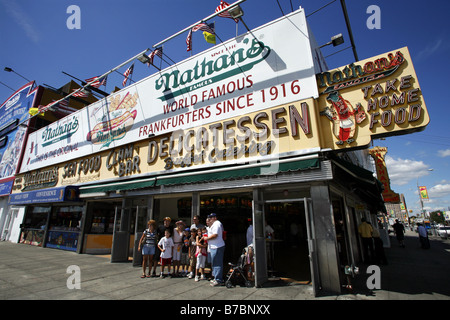 Nathan's Famous, Coney Island, New York City, USA - Stock Photo