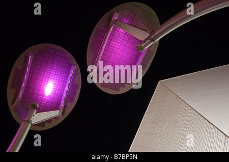 Coloured solar panels at night, Adelaide Festival Centre, South Australia - Stock Photo
